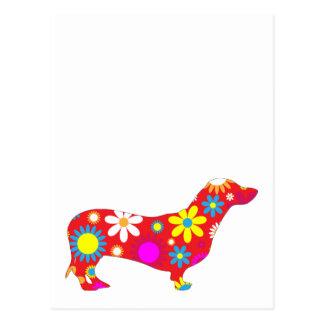 Dachshund dog funky retro floral flowers colorful postcard