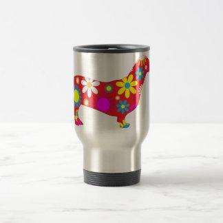 Dachshund dog funky retro floral flowers colorful travel mug