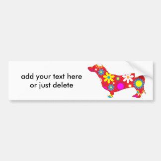 Dachshund dog funky retro floral flowers custom bumper sticker