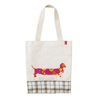 Dachshund dog funky retro floral funny doxie tote