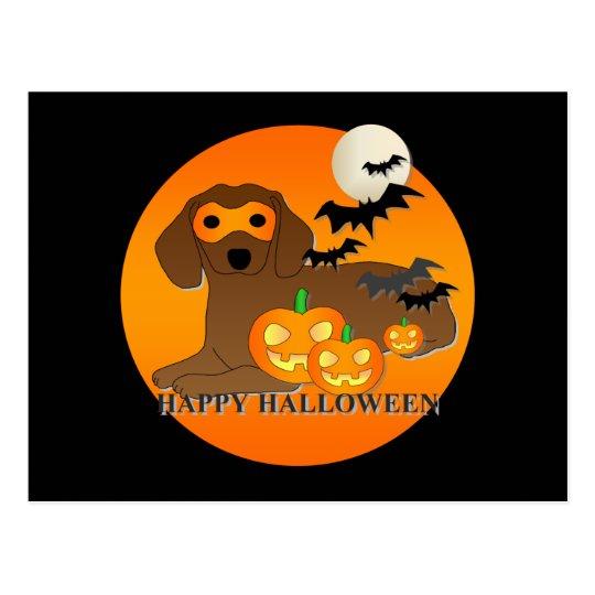 Dachshund Dog Halloween Postcard