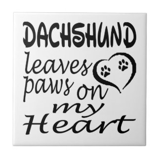 Dachshund Dog Leaves Paw On My Heart Ceramic Tiles