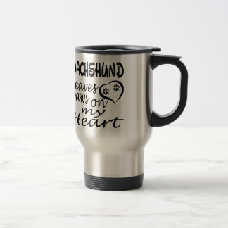 Dachshund Dog Leaves Paw On My Heart Travel Mug