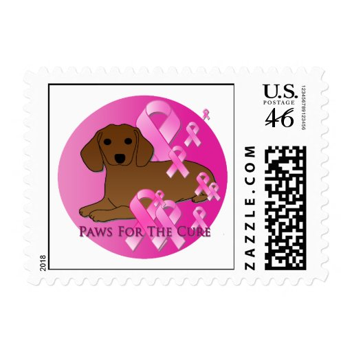 Dachshund Dog Pink Ribbon Stamp