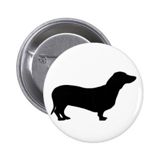 Dachshund dog silhouette button / badge