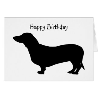 Dachshund dog silhouette cute custom birthday card
