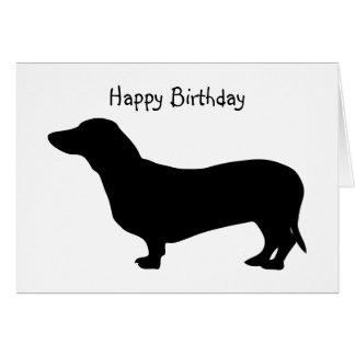 Dachshund dog silhouette cute custom birthday card