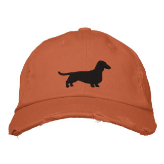 Dachshund Dog Silhouette Embroidered Baseball Caps