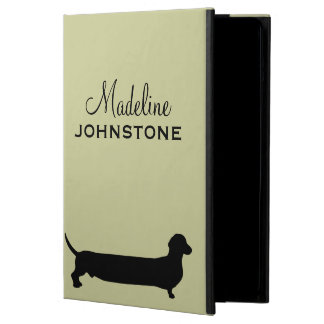 Dachshund dog silhouette funny cartoon custom name iPad air cases