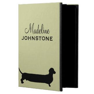 Dachshund dog silhouette funny cartoon custom name iPad air cover