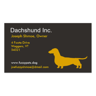Dachshund Dog Silhouette in Yellow Double-Sided Standard Business Cards (Pack Of 100)