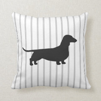 Dachshund Dog Silhouette on Stripes Throw Pillow