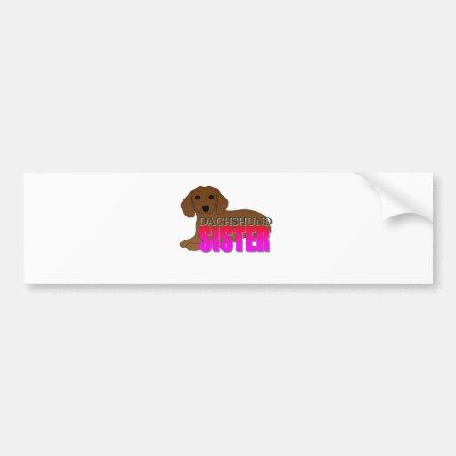 Dachshund Dog Sister Car Bumper Sticker
