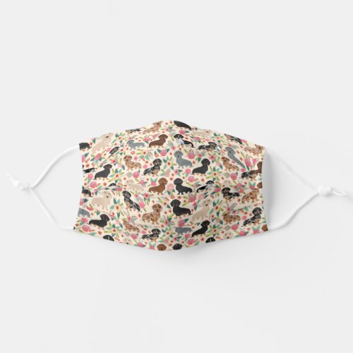 Dachshund dog vintage style florals adult cloth face mask