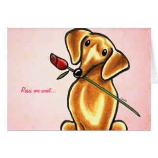 Dachshund Dog w Rose Custom Message Cards