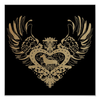 Dachshund Dog Winged Heart Poster