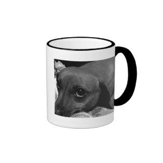 Dachshund Dog with Sad Eyes in Black and White Ringer Mug