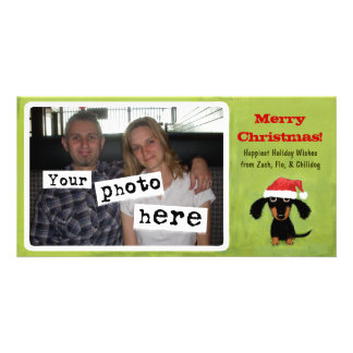 Dachshund Doggie Christmas Personalized Photo Card