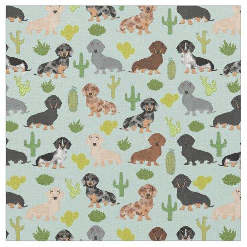 Dachshund dogs cactus mint fabric