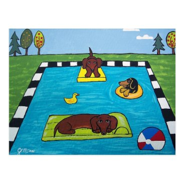 Beach Themed Dachshund Dogs Have a Pool Party Postcard