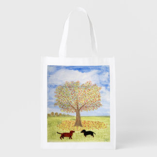 Dachshund Dogs under Autumn Tree Reusable Grocery Bags