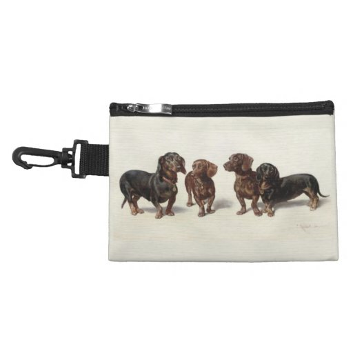 Dachshund dogs vintage art clip-on accessory bag