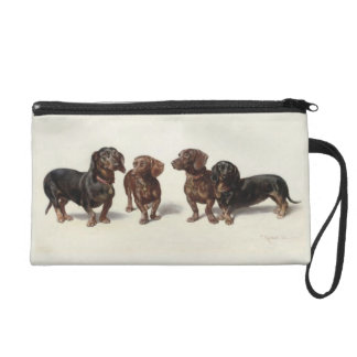 Dachshund dogs vintage art cute wristlet