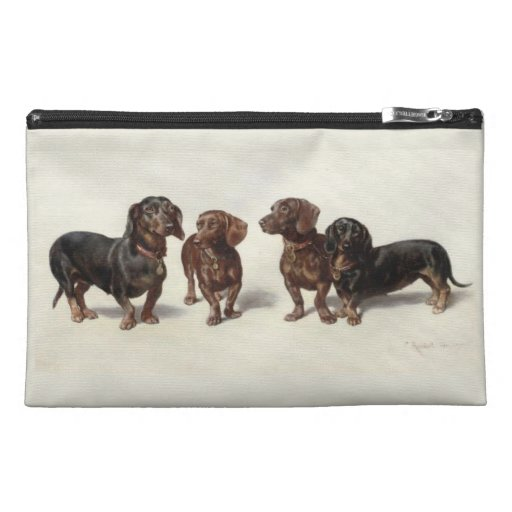 Dachshund dogs vintage art travel accessory bag