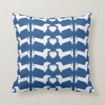 Dachshund Dogs with Heart Pattern Pillows