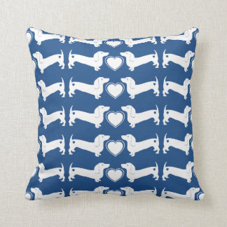 Dachshund Dogs with Heart Pattern Throw Pillow