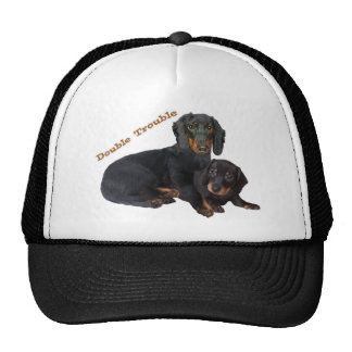 Dachshund Double Trouble Casual Apparel Mesh Hats