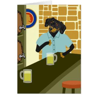 Dachshund Doxie Beer Barrel Keg Greeting Card
