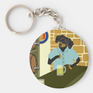 Dachshund Doxie Beer Barrel Keg Keychain