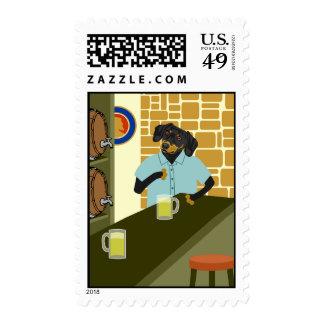 Dachshund Doxie Beer Barrel Keg Postage Stamps