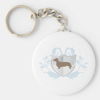 Dachshund Doxie Classic Crest Design Basic Round Button Keychain