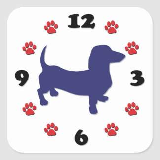 Dachshund Doxie Clock Square Sticker