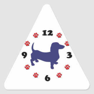 Dachshund Doxie Clock Triangle Sticker