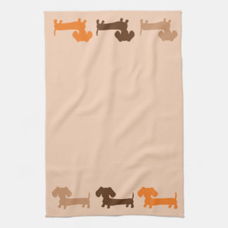 Dachshund Doxie Dish Towel in Neutral Colors