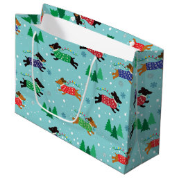 Dachshund Doxie Dog Christmas Holiday Large Gift Bag
