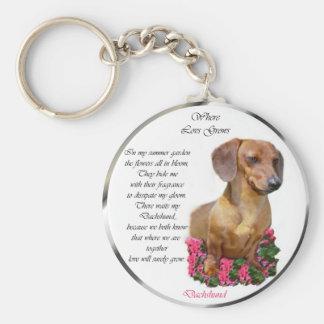 Dachshund Doxie Lovers Art Basic Round Button Keychain