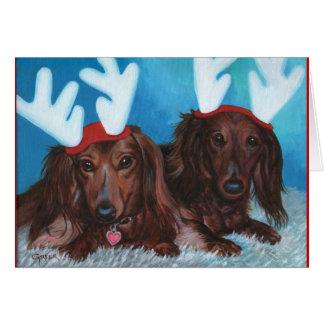 Dachshund Doxie Pair Christmas Card