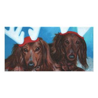Dachshund Doxie Pair Christmas Photo Card