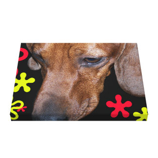 Dachshund Doxie w/retro Black, Red, and Yellow Canvas Print
