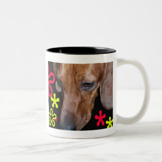 Dachshund Doxie w/retro Black, Red, and Yellow Two-Tone Coffee Mug