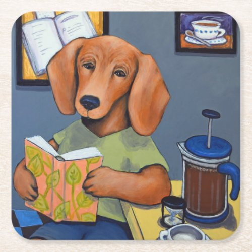Dachshund Drinking Coffee coaster