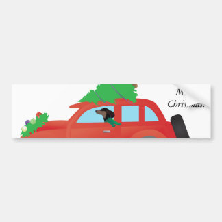 Dachshund driving a car w/ a Christmas tree on top Bumper Sticker