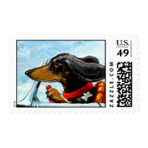 Dachshund Driving To The Beach Postage