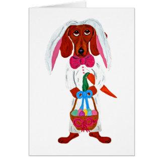 Dachshund Easter Bunny Card