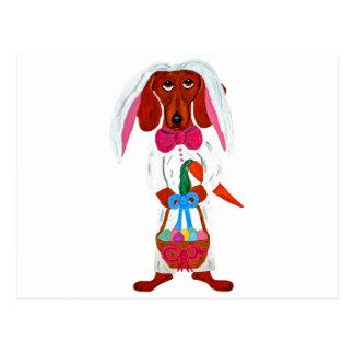 Dachshund Easter Bunny Postcard