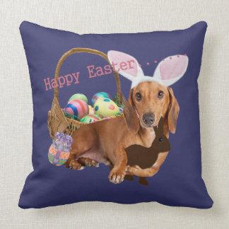 Dachshund Easter Bunny Throw Pillow